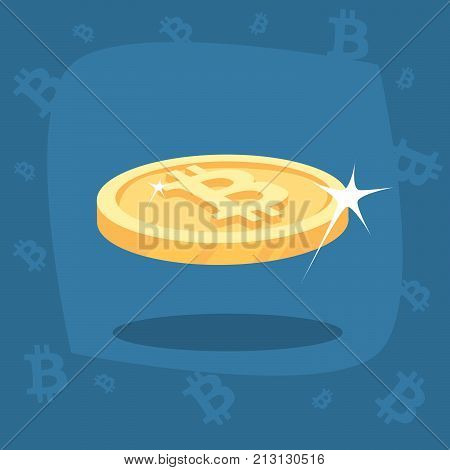 Shiny Gold Bitcoin Coin With Lens Flare