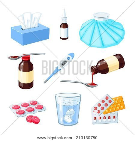 Set of medicinal remedy for sore throat flu influenza cough: medicine syrup ice bag lozenges pills capsules drugs. Vector illustration cartoon icon collection isolated on white.