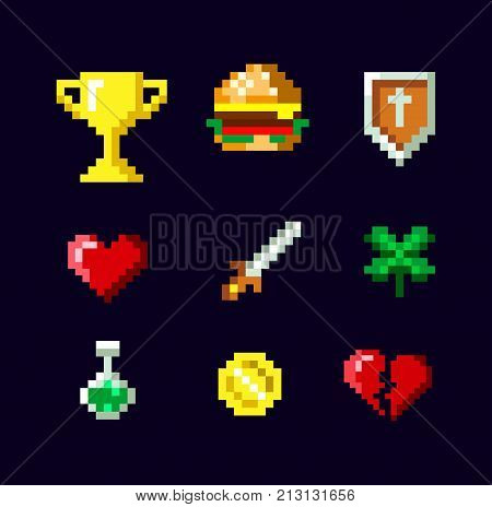 Pixel art game icon set design isolated on dark background. Pixel art elements for game design. Pixel burger, heart, broken heart, poison, sword,  shield, cup, coin and clover. Vector illustration.