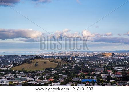 Auckland, New Zealand - February 08, 2015: Volcanic landscape of the Auckland volcanic field as seen from Mount Eden