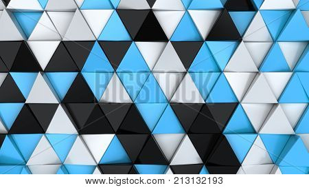 Pattern Of Black, White And Blue Triangle Prisms