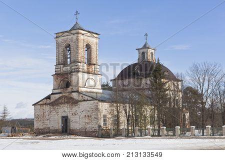 Church of Christ Resurrection Smetanino village (Verhovye), Verhovazhsky district, Vologda region, Russia poster