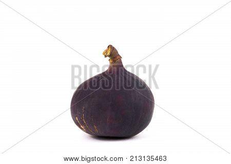 single sweet fig isolated on white. Tasty fig isolated on white background