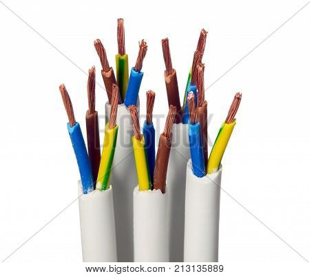 Closeup of electric wires on white background