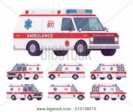 Ambulance car rescue set. 911 emergency disaster vehicle, modern van-based transport with warning lights and sirens for urgent help. Vector flat style cartoon illustration isolated on white background