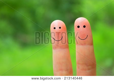 Couple Fingers With Smile
