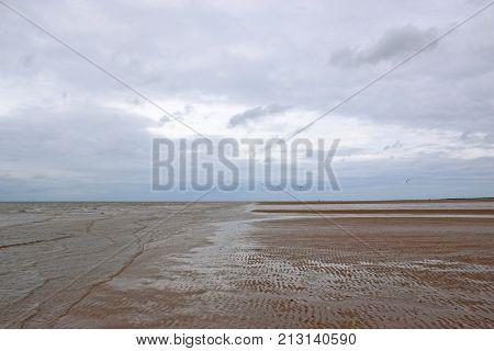 Windswept view of Old Hunstanton Beach in Norfolk
