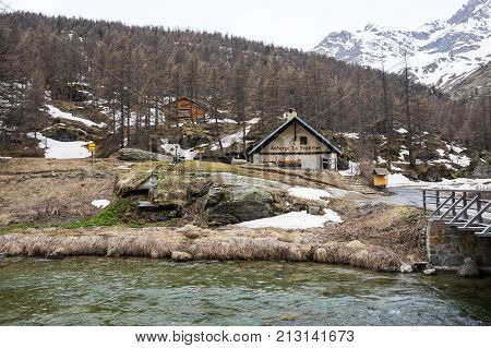 ECRINS NATIONAL PARK FRANCE - APRIL 22 2016: Ecrins National Park is one of the ten French national parks located in the south-eastern part of France and consists in a mountainous region of the Dauphine Alps