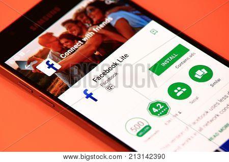 New York, USA - October 29, 2017: Facebook Lite application in Play Store. Facebook Lite application on smartphone.