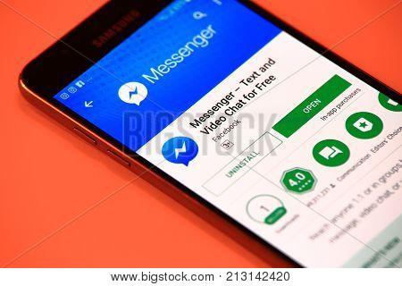 New York, USA - October 29, 2017: Messenger Lite application in Play Store. Messenger Lite mobile application on smartphone.