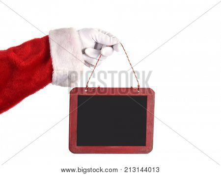 Closeup of Santa Claus Holding Blank Chalkboard Sign over white. The sign is ready for your copy.