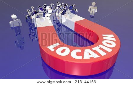 Location Magnet Attract People Buyers Best Area 3d Illustration