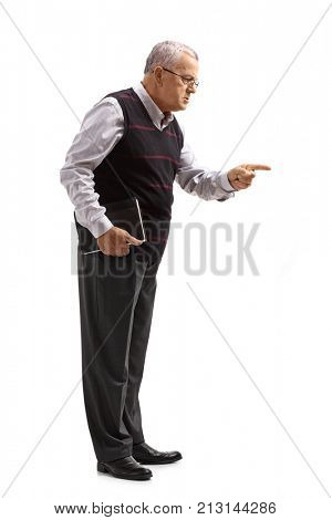 Full length profile shot of a teacher scolding someone isolated on white background