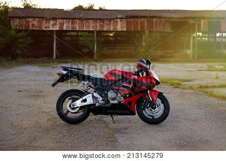 Krasnoyarsk, Russia - July 12, 2017: Red And Black Sportbike Honda Cbr 600 Rr 2005 Pc37