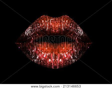Brilliant lips with red lipstick isolated on black background. Lip gloss cosmetics for makeup. Sensual sexy female lips. Contour of painted lips poster