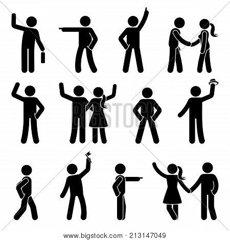 Stick figure different arms position set. Pointing finger hands in pockets waving person icon posture symbol sign pictogram on white