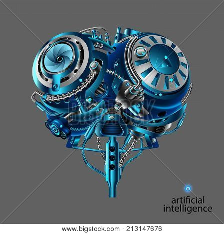 The Mechanical brain of the robot. Artificial intelligence. Mechanical electronic part of the robot head in the style of cyber punk or steam punk vintage. Front view. VECTOR