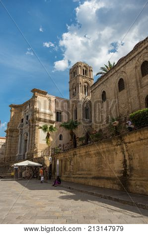 Palermo, Italy - September 7, 2017: View to belltower of church Martorana (Santa Maria dell'Ammiraglio) Palermo. Sicily.