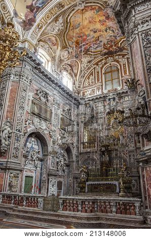 Palermo Sicily Italy - September 7 2017: Interior of baroque church Chiesa di Santa Caterina in Palermo Italy.