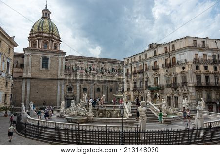 Palermo, Italy - September 7, 2017: Baroque fountain with nude figurines on piazza Pretoria in Palermo Sicily Italy