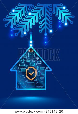 electronic home security system. Christmas decoration in the form of a printed circuit Board. Christmas ball on the Christmas tree internet of things