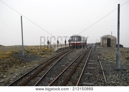 Snowdon, UK: March, 2014: The Snowdon Mountain Railway is a narrow gauge rack and pinion mountain railway in Gwynedd. It is a tourist railway that travels for 4.7 miles from Llanberis to the summit