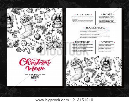 Christmas menu.  Chalkboard restaurant and cafe template. Vector hand drawn illustration with holly, mistletoe, poinsettia, pine cone, cotton, fir tree. Engraved traditional xmas botanical decoration. Food and drink brouchure.