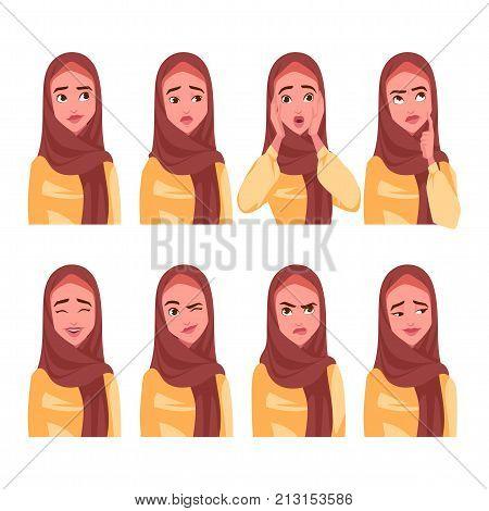 Set Of Muslim Woman's Emotions.