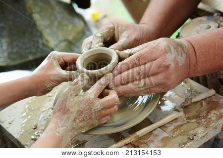 Pottery training. Pottery is one of the oldest crafts in Kazakhstan.