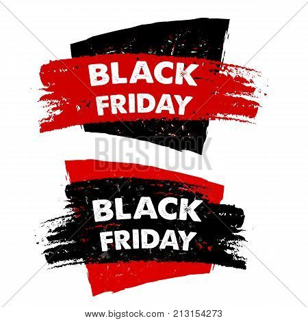black friday sale banners - text in red black drawn labels business seasonal shopping concept