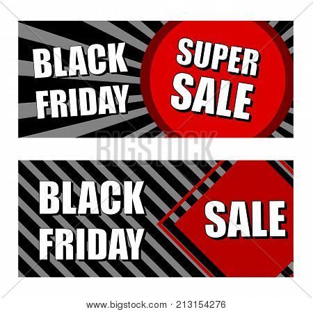 black friday super sale - red black flat design banners business holiday shopping concept