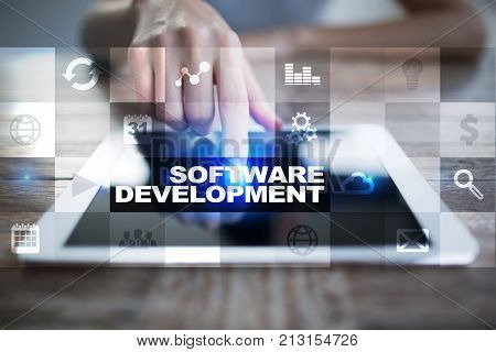 Software development on virtual screen. Applications for business Programming