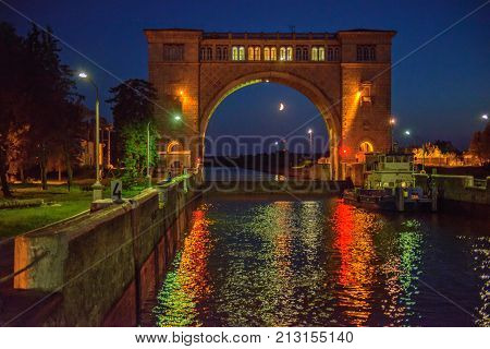 Gateway on Moscow Canal in night Russia
