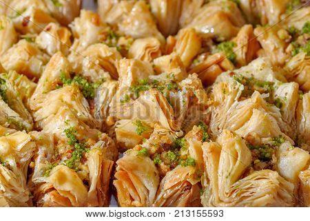 Close up view of baklava - traditional east dessert