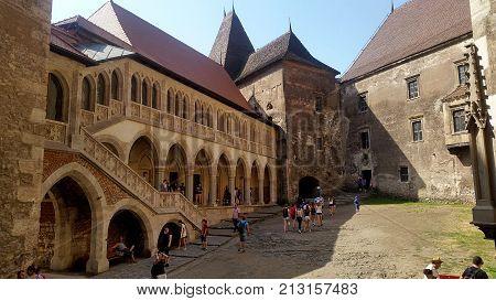 Corvin Romania - July 22 2017: Backyard of Corvin castle in Romania