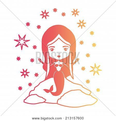 mermaid in a rock with stars in degraded magenta to yellow color contour vector illustration