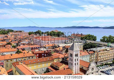 ZADAR, CROATIA - 15 JULY, 2017: City of Zadar, Croatia Picture taken from a height