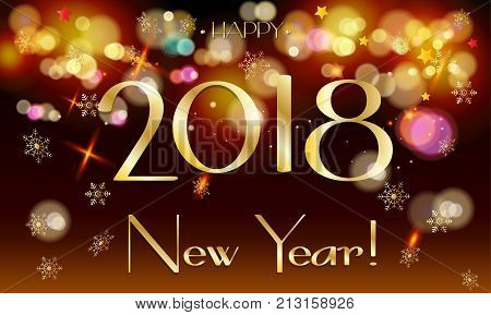 Greeting card with 2018 logo concept, Happy New Year and Christmas Holiday luxury greeting card with gold defocused lights effect, golden bokeh lights, glitter confetti, Christmas fireworks decoration vector template.