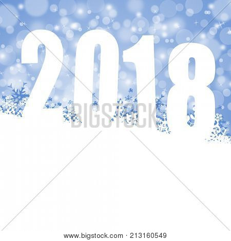 New Year 2018 holiday celebration greeting card with snowflakes and empty copy space