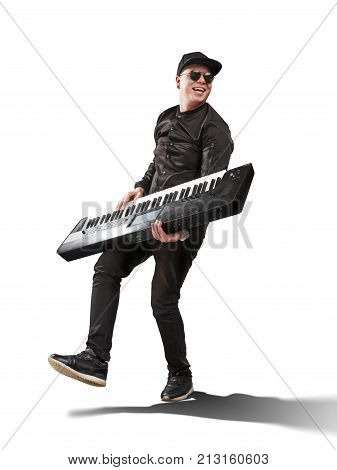 musician playing on synthesizer isolated on white background