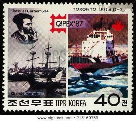 Moscow Russia - November 11 2017: A stamp printed in DPRK (North Korea) shows portrait of French navigator Jacques Cartier (1534) his sailing ship