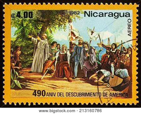 Moscow Russia - November 09 2017: A stamp printed in Nicaragua shows Landing of Columbus in West-Indies in 1492 series