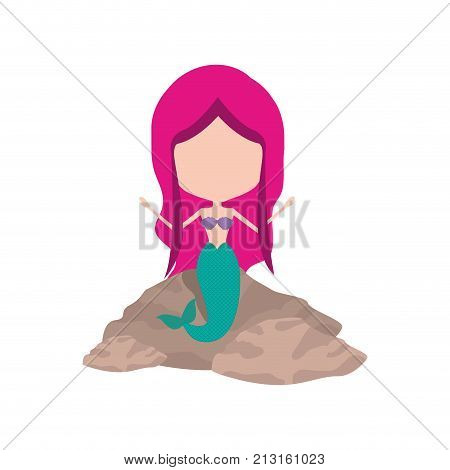 mermaid in a rock without face and magenta hair on white background vector illustration