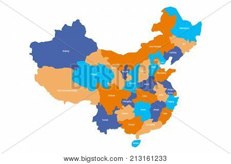 Map of administrative provinces of China. Vector illustration.