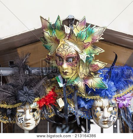VENICE, ITALY - SEPTEMBER 21, 2017 : Original venetian mask, street shop. The Venetian carnival tradition is most famous for its distinctive masks