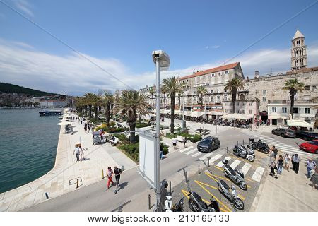 SPLIT, CROATIA - MAY 20, 2017: Roadway and parking on the Riva embankment in the Croatian city of Split