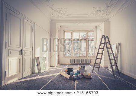 flat renovation - apartment room during restoration -