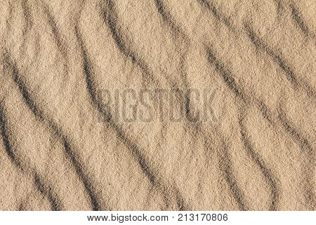 Sandy background texture of arid barren sand desert