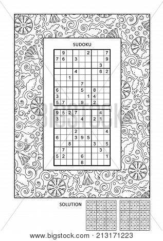 Puzzle and coloring activity page for grown-ups with two sudoku puzzles of comfortable level and wide decorative frame to color. Family friendly. Answer included.