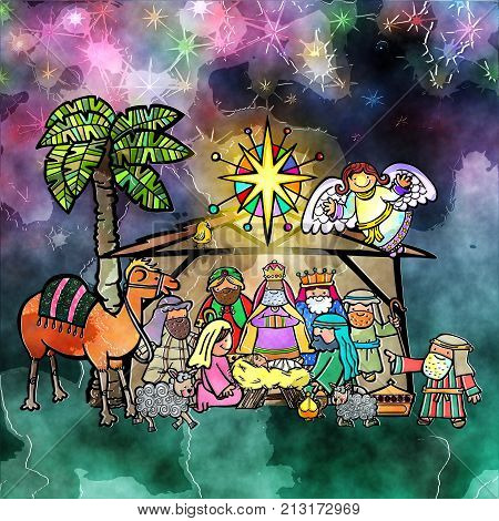 A hand drawn digitally painted Christmas nativity scene.